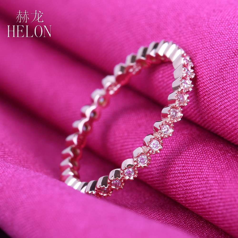 HELON Diamonds Band Solid 10K Rose Gold Milgrain Bezel 0.2ct Natural Diamond Engagement Wedding Ring Fine Jewelry Womens