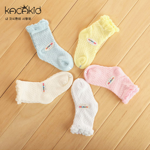 5 Colos 2017 Summer Promotion Kids Bby Girls Hollow Breathable Cotto Floral Ruffle Girls Princess Socks