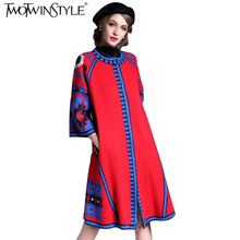TWOTWINSTYLE Knitted Women s Cardigan Geometric Vintage Knitting Long  Trench Female Spring Casual Dress Clothes Korean 2018 475d929f780a