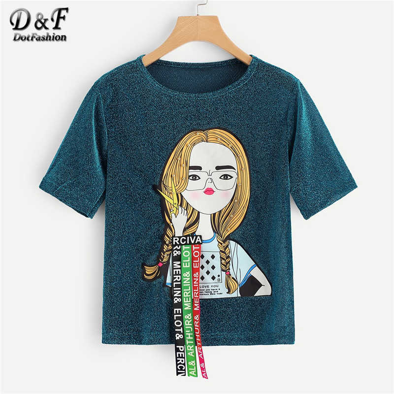 Dotfashion Turquoise Figure Print Studs Detail Glitter Tee Women 2019 Summer Casual Streetwear Fashion Tops Short Sleeve Tshirt