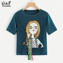 Dotfashion Turquoise Figure Print Studs Detail Glitter Tee Women 2019 Summer Casual Streetwear Fashion Tops Short Sleeve Tshirt(China)