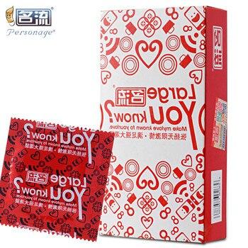 PERSONAGE 10 sztuk/partia 55mm duży rozmiar prezerwatywy Plus rozmiar 55mm duży Condones Penis Sleeve naturalnego lateksu antykoncepcji dla dorosłych sex zabawki