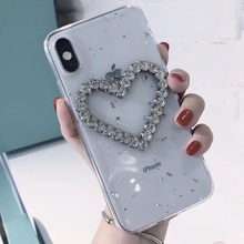 Tfshining Glitter Phone Case For iPhone 8 7 6 6S Plus X XS Max XR Cute Love Heart Crystal Bling Diamond Soft Cover Coque