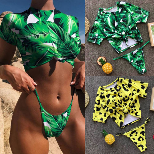 Summer Fashion Printed Tee Shirt+G-string Womens Girls Sexy Navel Cropped Tops
