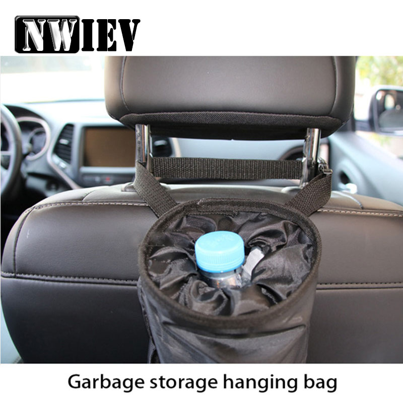 NWIEV Car Trash Bin Portable Garbage Storage Hanging Bag For Jeep Renegade wrangler Audi a3 a4 b6 b8 <font><b>Kia</b></font> rio ceed Accessories image
