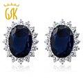 Gemstoneking óvalo azul zafiro pendientes 15.00 ct princesa diana y zirconia 925 de plata esterlina stud pendientes de la mujer
