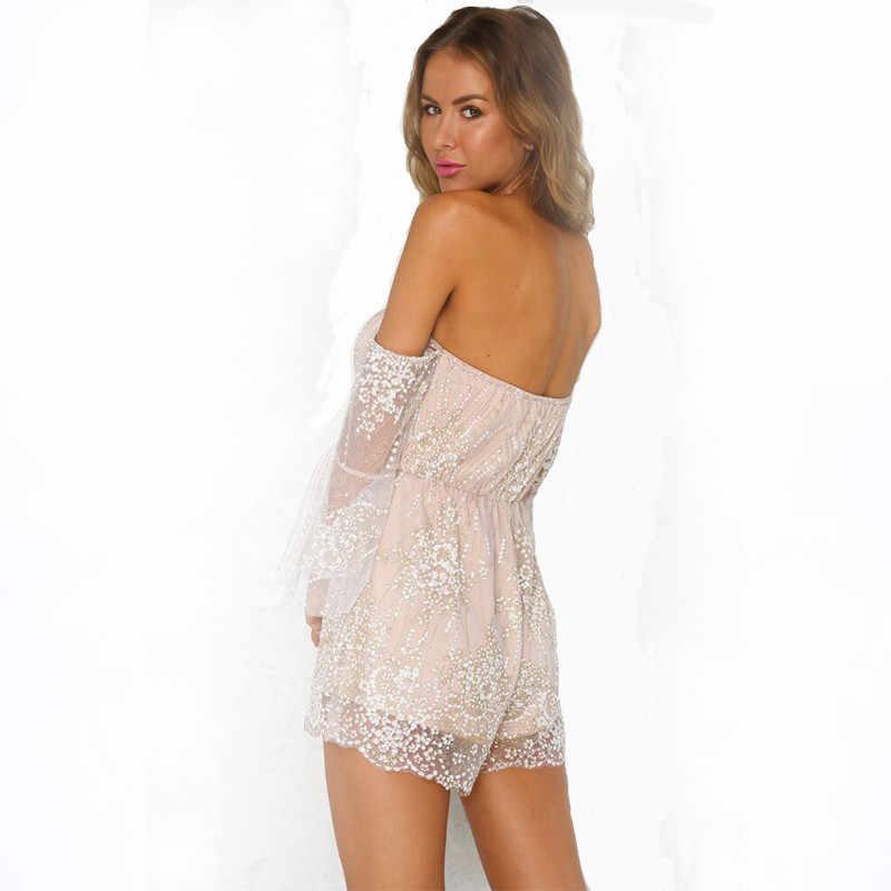 Летняя женская одежда с v-образным вырезом без бретелек соблазнительное, облегающее, с открытой спиной, расшитые стразами; большие размеры кружева ultra short Throw комбинезон aa328
