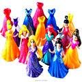 Disny Princesa Aurora Estátua Belle Magia Clipe Vestido Anime Ação PVC Figuras Dolls Figuras Crianças Brinquedos Para Presente Das Crianças