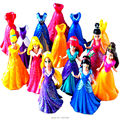 Disny Princess Belle Magic Clip Dress Anime PVC Action Figures Aurora Statue Dolls Figurines Kids Toys For Children Gift