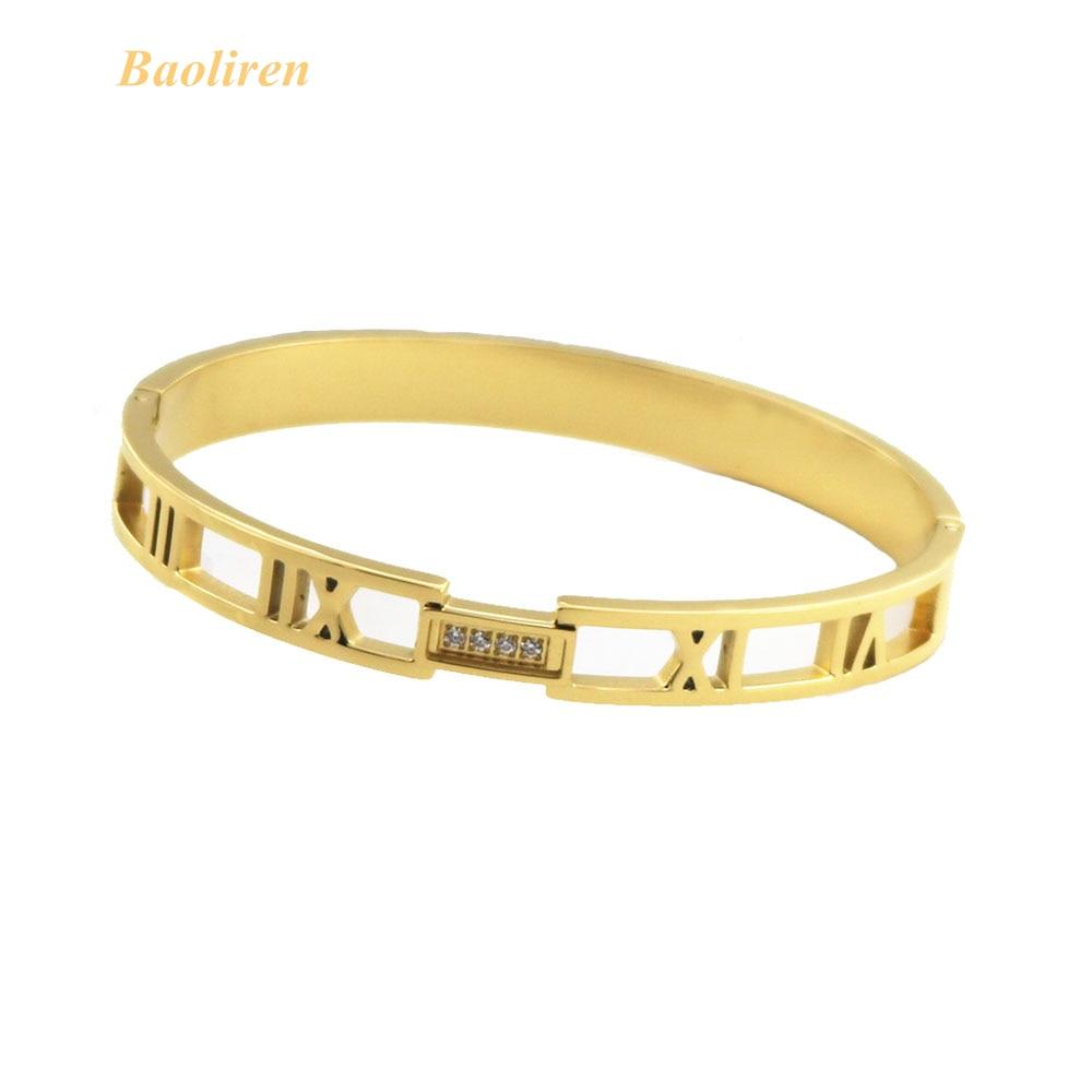 Baoliren Titanium Steel Roman Numerals Gold Tone Women's CNC Zircon Bracelet Bangle