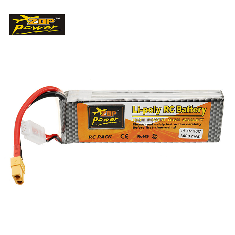 Rechargeable ZOP Power 11.1V 3000mah 30C 3S Lipo Battery XT60 Plug For RC Helicopter Quadcopter Drone Toy Models Spare Parts rechargeable lipo battery zop power 9 6v 1500mah 35c lipo battery jst t plug connection for rc helicopter models accessories