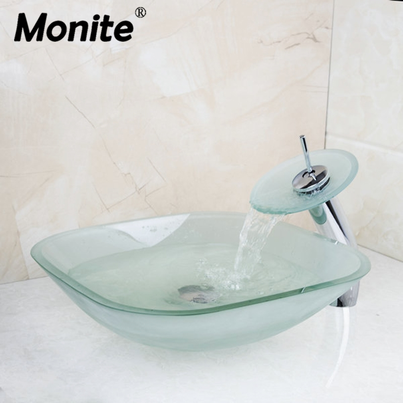 Forst Square Transparent Tempered Glass Vessel Counter Top Bathroom Basin Sink Faucet With Waterfall Faucet With Pop Up Drain rattan square dining tables with cushion and tempered glass