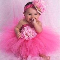 Для маленьких девочек нарядное платье-пачка Цветок Двойных Слоев пушистый фиолетовый белый розовый Туту платье с оголовьем день рождения Н...