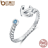 BAMOER Authentic 925 Sterling Silver Light Blue Stone Anchor Women Open Finger Ring Fashion Sterling Silver
