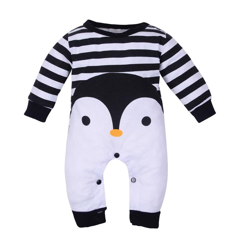 Baby Boy Clothes 2018 Newborn Long Sleeve Romper Lovely Cartoon Penguin Animal Striped Jumpsuit Fashion Infantil Clothing kids ruffle tie neck striped romper