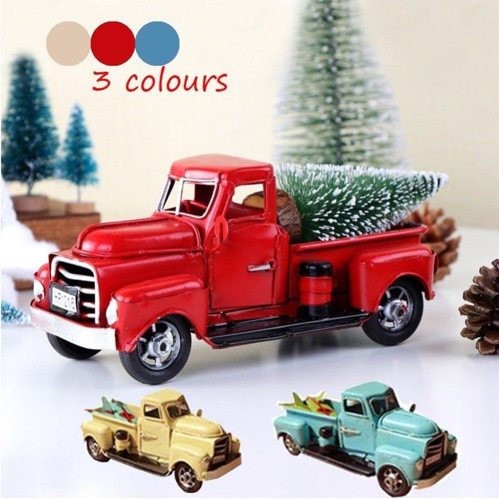 Car Christmas Tree.Vintage Metal Truck Christmas Ornament Classic Car Handmade Pickup Model Carry Christmas Snow Tree Home Decor Gift