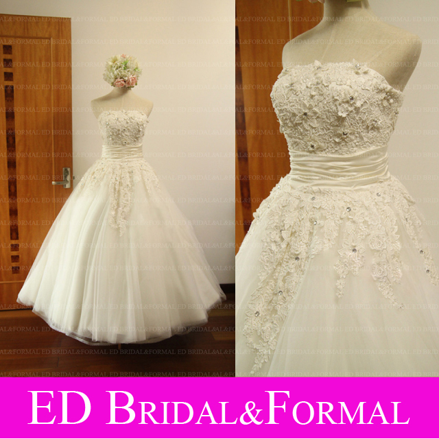 Custom Vintage Lace Tea Length Wedding Dresses 1950s Style Real ...