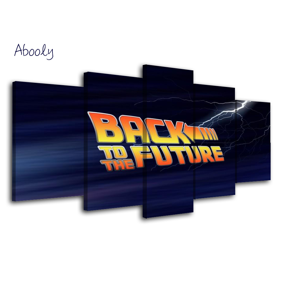 5Piece Wall Art Game Poster Canvas Picture Printed Back To Future Wall Art Painting Picture For Living Room Home Decor