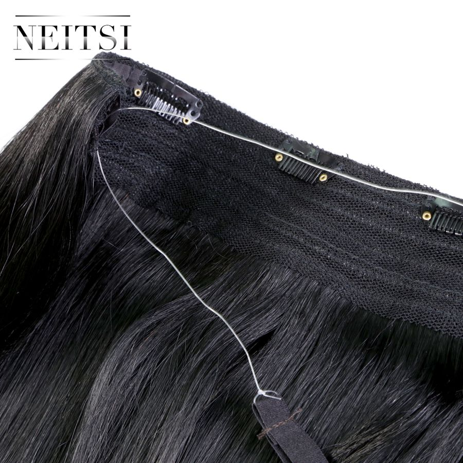Neitsi Straight Machine Made Remy Halo Hair Extension Clip In On ...