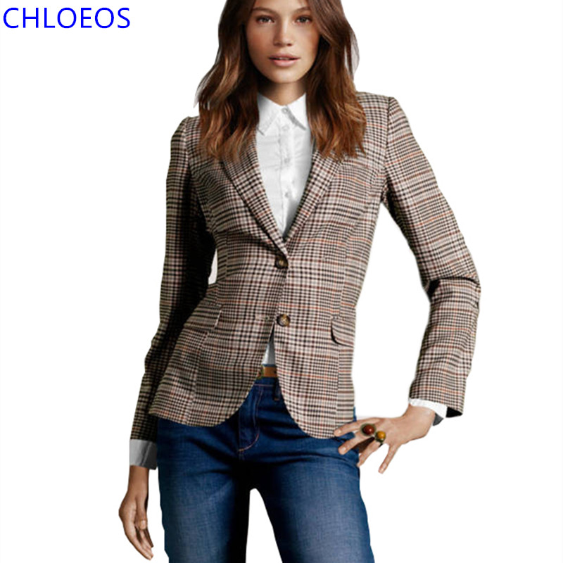 New 2017 Women Vintage Plaid Elbow Patch Two Button Blazer Ladies Autumn Basic Jackets Causal Suit Jacket chaquetas mujer