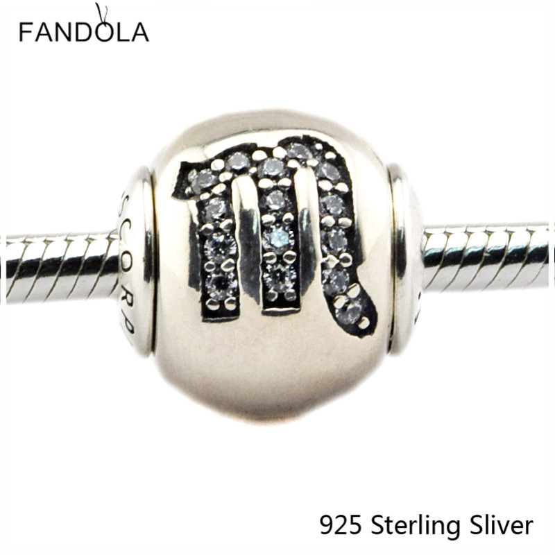 2.5MM Scorpio Star Sign Silver Charms Authenic 925 Sterling Silver Fit Bracelet Jewelry DIY Bead for Women Jewelry Making Gift