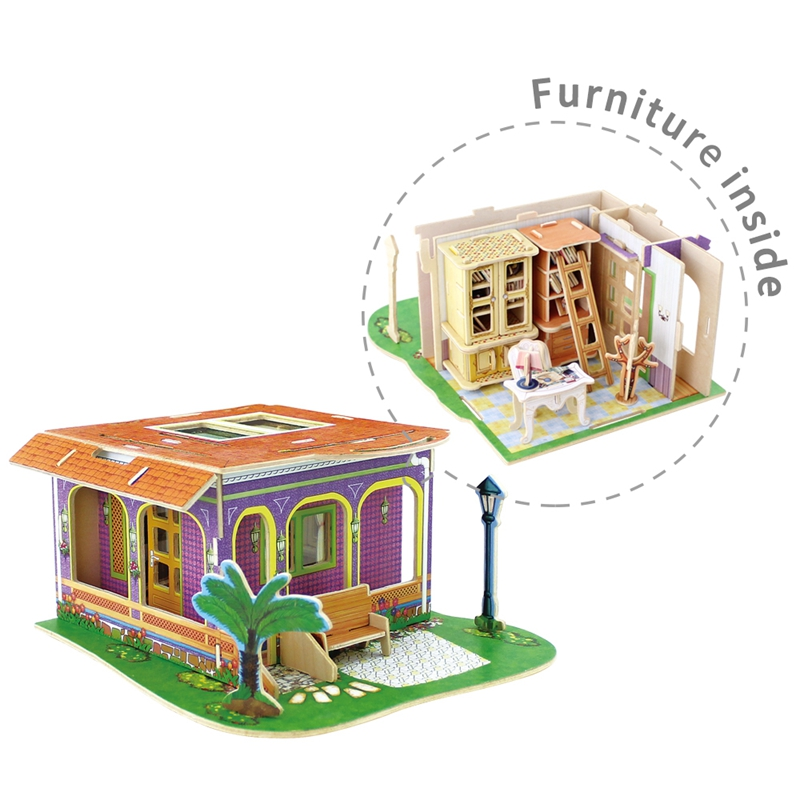 US $18 83 43% OFF|Robud Study Room Doll House Furniture Inside Wooden  Assembly Dollhouse Miniature Toys Hobbies Model Building for Children  H58-in