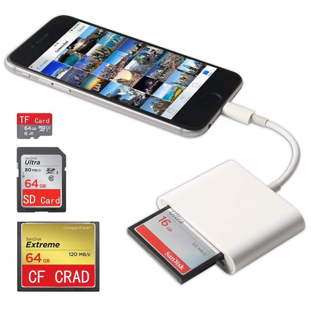 Lightning Portable Card Reader,3 Slot Lightning Flash Memory Card Reader for CF/SD/TF/Micro SD/MD/MMC/SDHC/SDXC No App Required