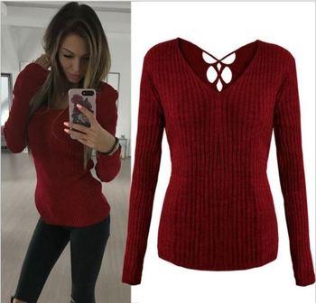red women v neck knitted loose sweater