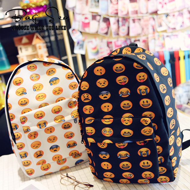 New 2016 Kids Cute Emoji Printing School Bags Children Canvas Backpacks For Teenager Girls Casual Women's Laptop mochila escolar