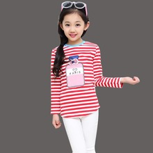 Fashionable Cartoon Print T-shirt Baby Girl Korean Blouse Girl Fashionable Print T-shirt