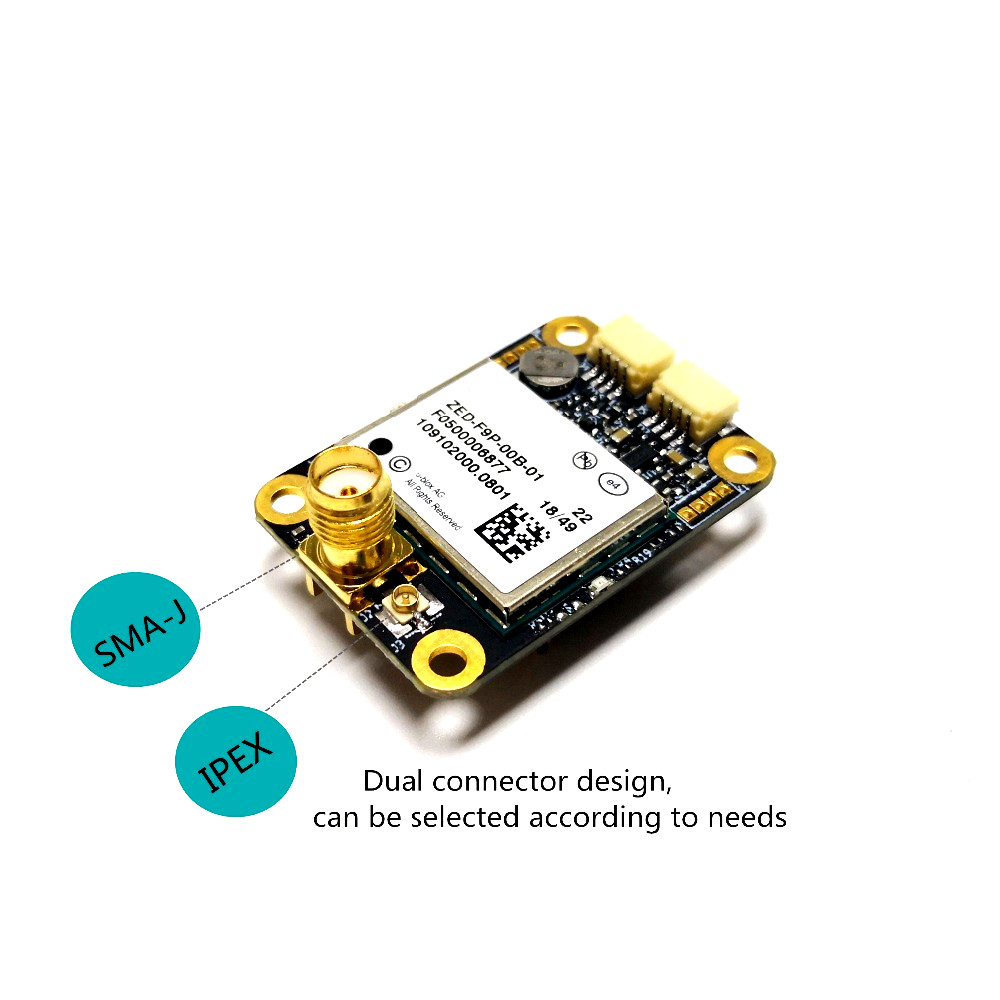 Designed with the ZED-F9P F9 module, the RTK high-precision GNSS receiver can be used as a base station and rove TOPGNSS TOP350