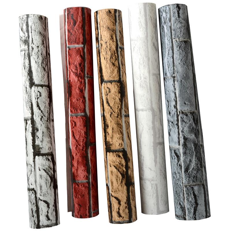 Купить с кэшбэком Brick Wallpaper 3d Vintage Grey Brown Red Waterproof Wall Paper Roll for Shop Bar Background Walls contact paper carta da parati