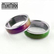 Hurtownie 50 sztuk pierścienie nastroju zmienia kolor z temperatury ciała wycinanie mężczyźni kobiety unisex pasek ze stali nierdzewnej biżuteria wiele luzem