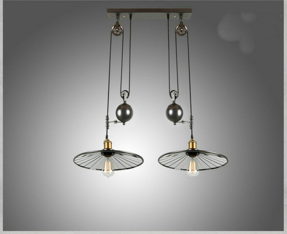 Loft vintage retro wrought iron black chandelier adjustable pulley loft vintage retro wrought iron black chandelier adjustable pulley industrial lamps e27 edison pendant 2lamp home light fixtures in pendant lights from aloadofball Gallery