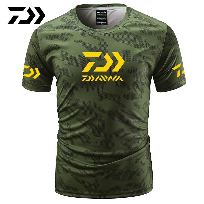 Summer Daiwa Clothing for Fishing Camouflage Outdoor Fishing Tshirt Breathable Letter Short Sleeve Top Sport Quality Fishing TeeSummer Daiwa Clothing for Fishing Camouflage Outdoor Fishing Tshirt Breathable Letter Short Sleeve Top Sport Quality Fishing Tee
