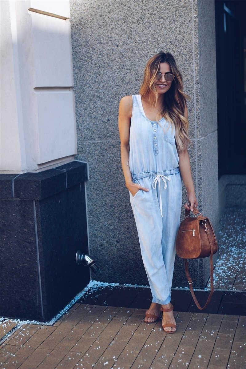 Новое поступление Для женщин мода комбинезон осень-весна Дамы Повседневное джинсовый комбинезон без рукавов дамы брюк