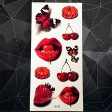 Style Fruits Tatoo 3d Design A3D-33 Strawberry 3D Cherry Kids Waterproof Tattoo Stickers Fake Red Lips Sexy Women Tattoo