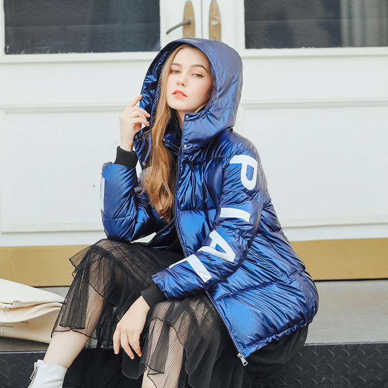 2019 Winter Jacket Women Letter Print Metal Glossy Down   Parkas   5 Colors Hooded Bright Shiny Warm Thick   Parkas   Female Coats