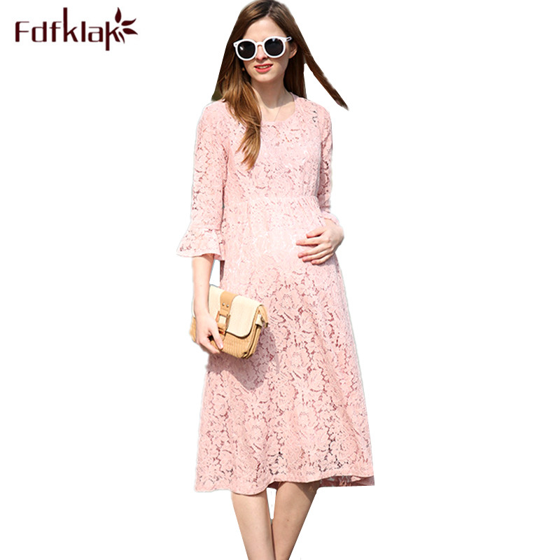 Fdfklak Sexy Lace Maternity Dresses Spring Summer Maternity Clothes Large Size Pregnancy Dress Pregnant Dress Women Vestidos