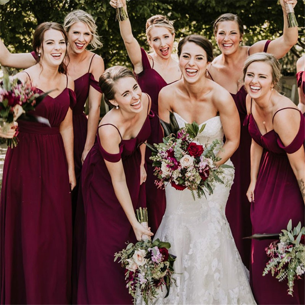 2019 Elegant Purple Long Chiffon   Bridesmaid     Dresses   Spaghetti Strap A Line Floor Length Cheap Wedding Guest   Dress   Custom Made