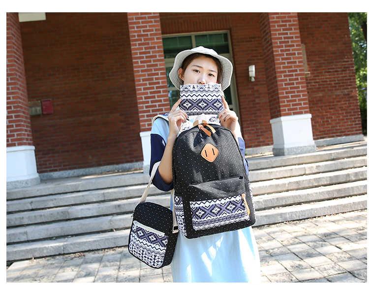 2017 Hàn Quốc In Canvas Phụ Nữ Ba Lô Học Túi cho Cô Gái Tuổi Teen Dễ Thương Bookbags Máy Tính Xách Tay Vintage Ba Lô Nữ 3 giá