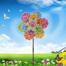 Three Layer Flowers Wind Spinner Windmill Toys Garden Decoration Wheel Pinwheel Floral Colorful Kids Children Toy Gifts