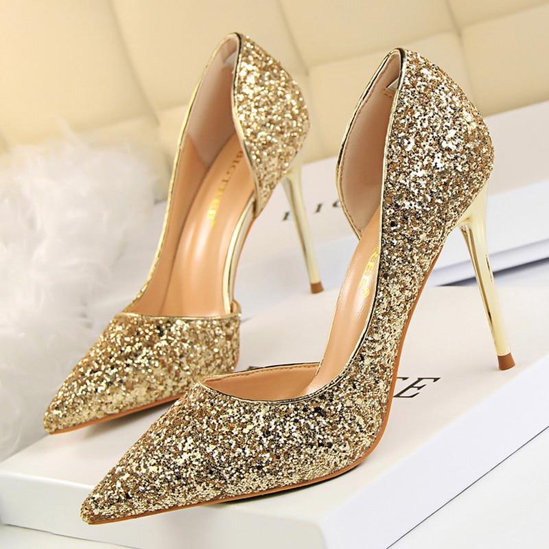 Women Pumps Sexy Glisten Women Shoes Wedding Party Dress Heels Women Hollow Shallow Mouth High Heels Stiletto 868-8