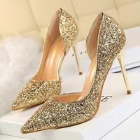 Women Pumps Sexy Glisten Women Shoes Wedding Party Dress Heels Women Hollow Shallow Mouth High Heels Stiletto 868 8