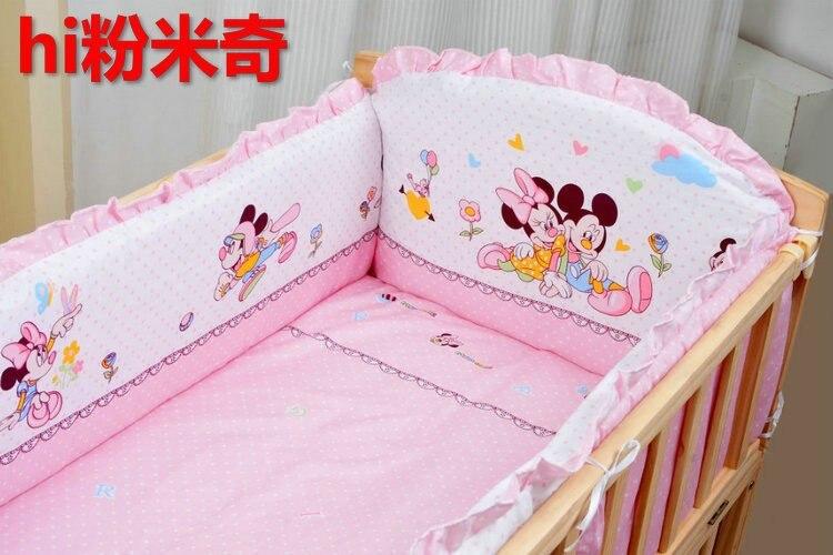 Promotion! 6PCS Bear Baby Girl Bedding 100% Cotton Printed Crib Bedding Set Cot set (3bumper+matress+pillow+duvet) promotion 6pcs bear bedding set 100