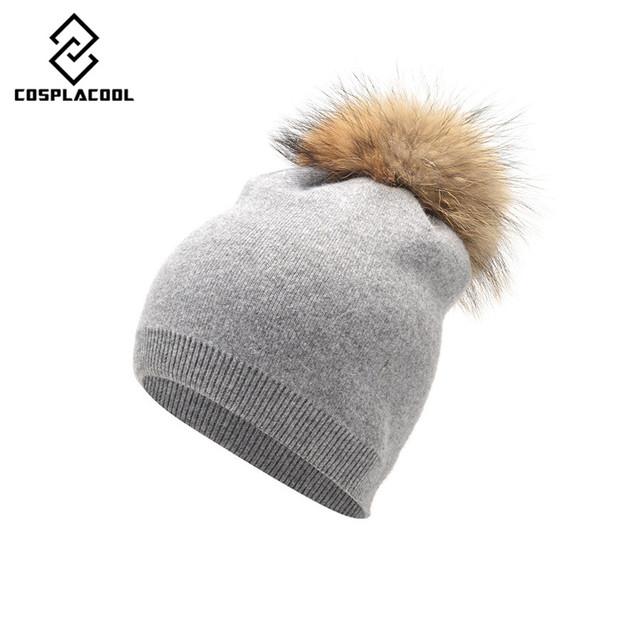 Outono Inverno Malha De Lã Chapéus Para Mulheres Moda Gorros Pompom Chapéu forrado a pele Feminina Tampas Quentes Com Natural Raccoon Fur Genuine Cap