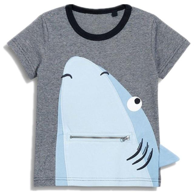 2018 Nowa Marka najwyższej jakości dzieci ubrania letnie chłopcy krótki rękaw O-neck t shirt bawełna shark ryby cartoon whale tee topy 60993