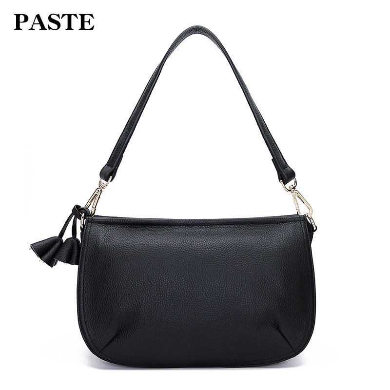 100% Genuine Leather Women Shoulder Bags Small Tassel Female Bags Simple Elegant Office Lady Real Leather Messenger Bag 100% genuine leather women shoulder bags simple fashion real skin cowhide simple messenger bags leisure female messenger bag