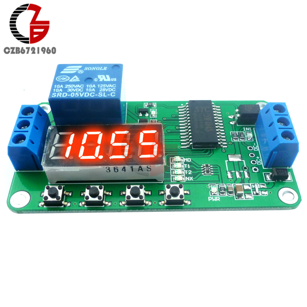 1500w Dc 5v Digital Timer Relay Switch Board With Dual Display For Low Level Trigger Plc Cycle Led Time Delay Anti Reverse