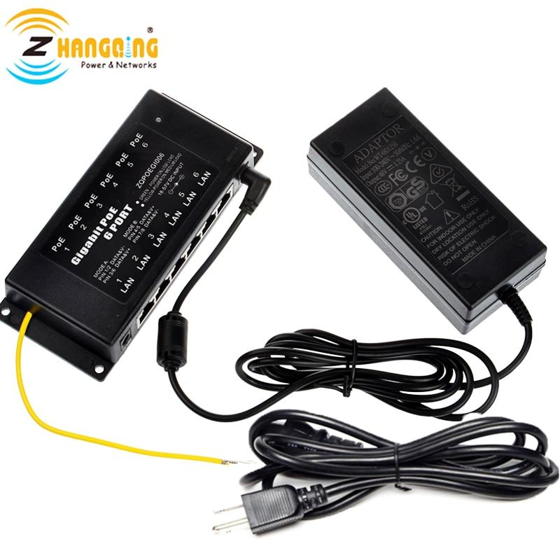 Mode A & B PoE injecteur 6 ports alimentation sur Ethernet Gigabit PoE panneau de brassage comprenant 48 Volts 60 Watts alimentation pour caméra IP